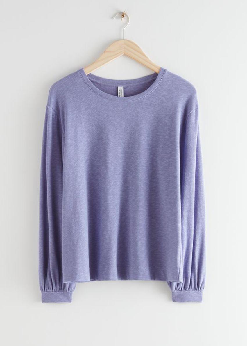 앤아더스토리즈 릴렉스드 롱 슬리브 티셔츠의 퍼플컬러 Product입니다.