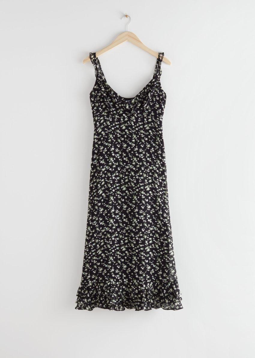 앤아더스토리즈 프릴 크레이프 시폰 미디 드레스의 블랙 플로럴컬러 Product입니다.
