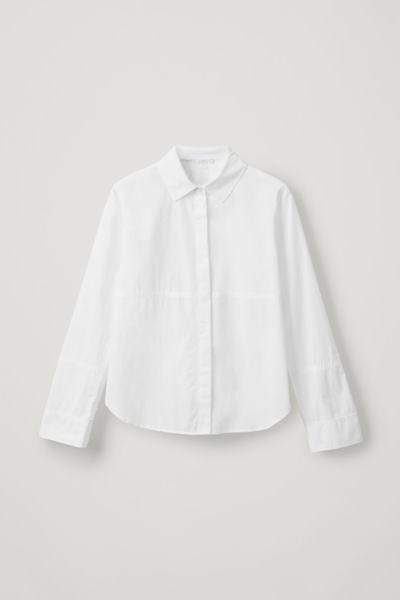 COS image 2 of 화이트 in 탑스티치 디테일 셔츠