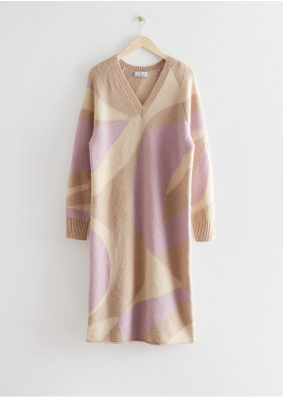 &OS image 3 of 베이지, 핑크 in 니티드 자카드 미디 드레스