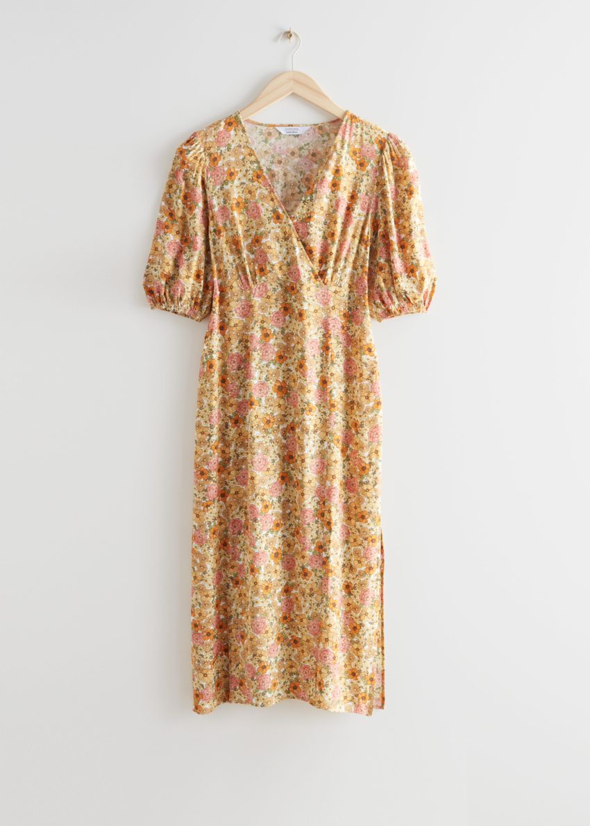 앤아더스토리즈 프린트 퍼프 슬리브 미디 드레스의 옐로우 프린트컬러 Product입니다.