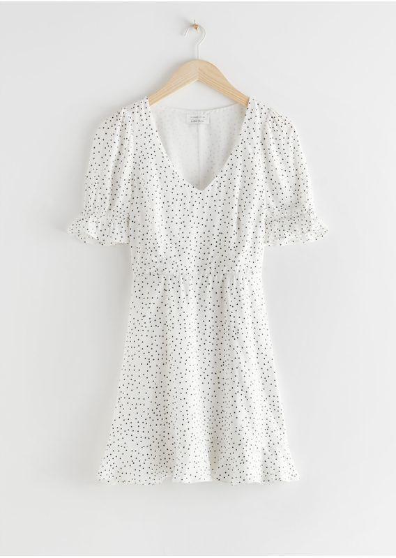 &OS image 3 of 화이트 도트 in 브이넥 퍼프 슬리브 미니 드레스