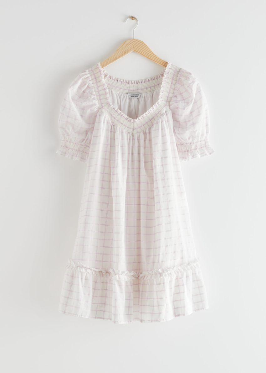 앤아더스토리즈 볼류미너스 프릴 미니 드레스의 라일락 체크컬러 Product입니다.