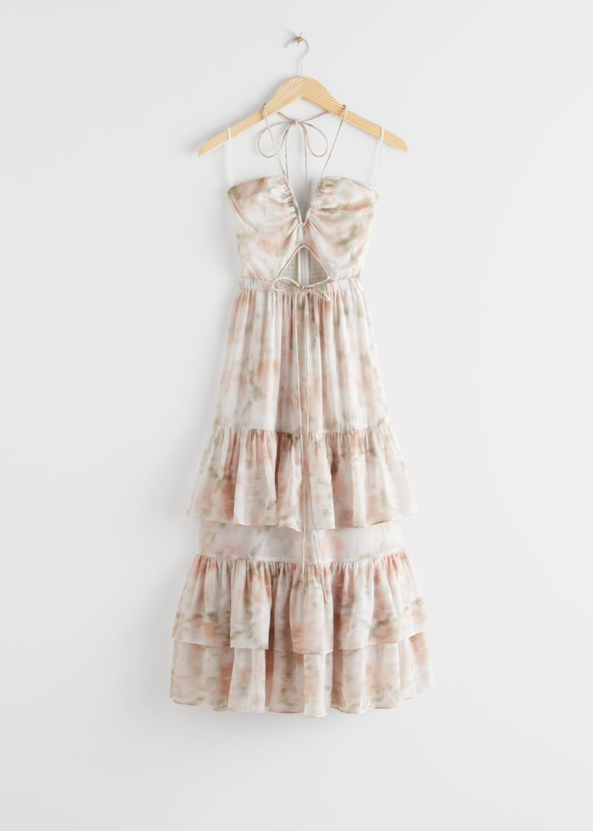 앤아더스토리즈 프릴 홀터 미디 드레스의 화이트 프린트컬러 Product입니다.