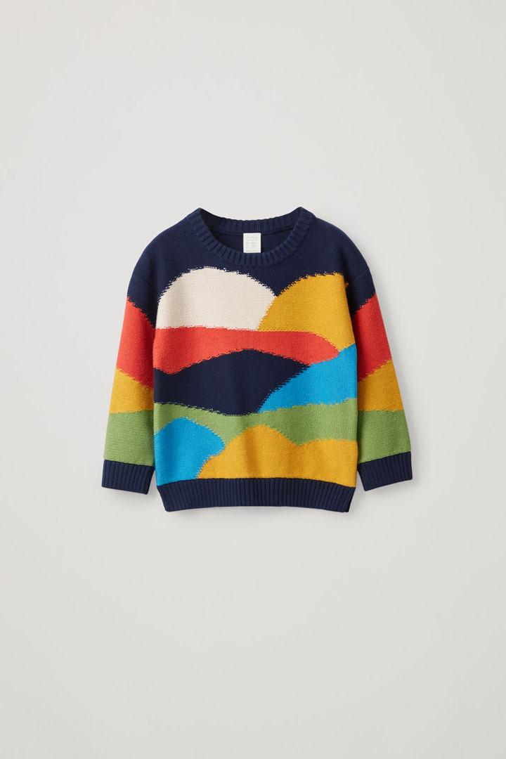COS default image 4 of 블루 in 컬러 블록 코튼 울 믹스 스웨터