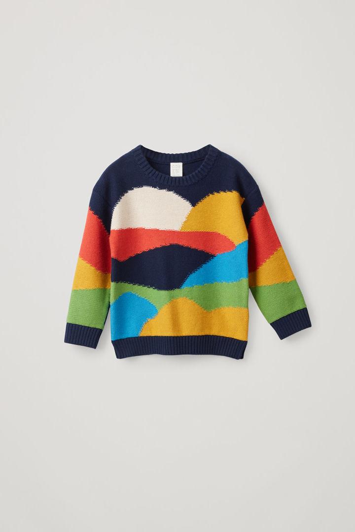 COS hover image 4 of 블루 in 컬러 블록 코튼 울 믹스 스웨터