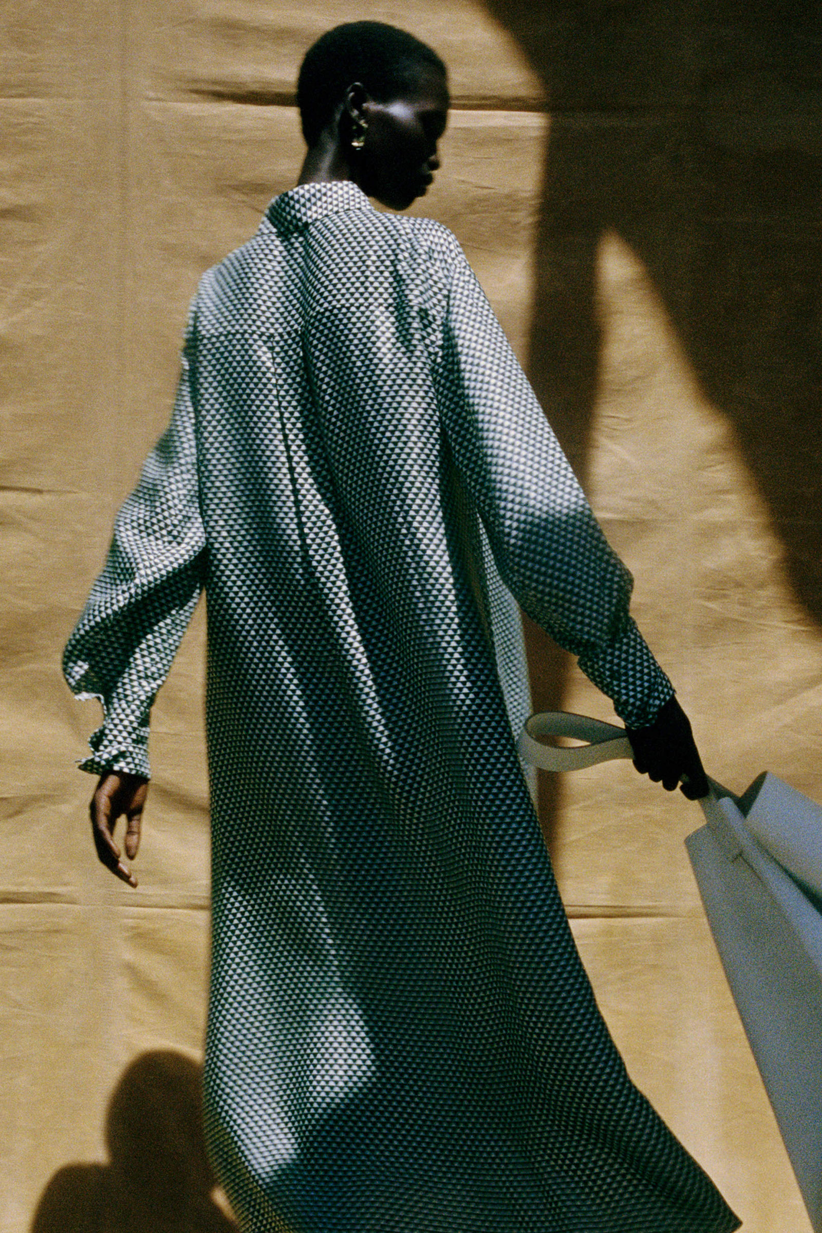 COS 실크 프린티드 미디 셔츠 드레스의 다크 그린 / 화이트컬러 Environmental입니다.