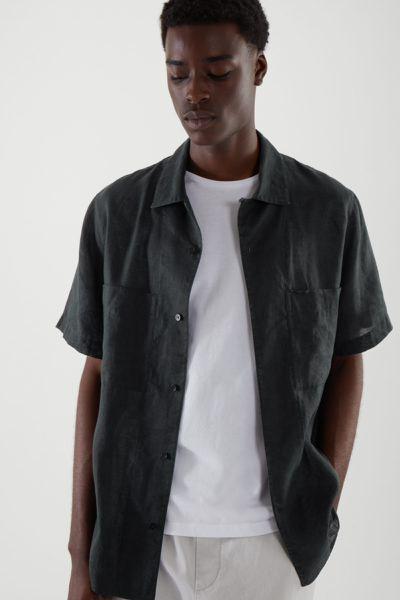 COS hover image 3 of 블랙 in 캠프 칼라 쇼트 슬리브 셔츠