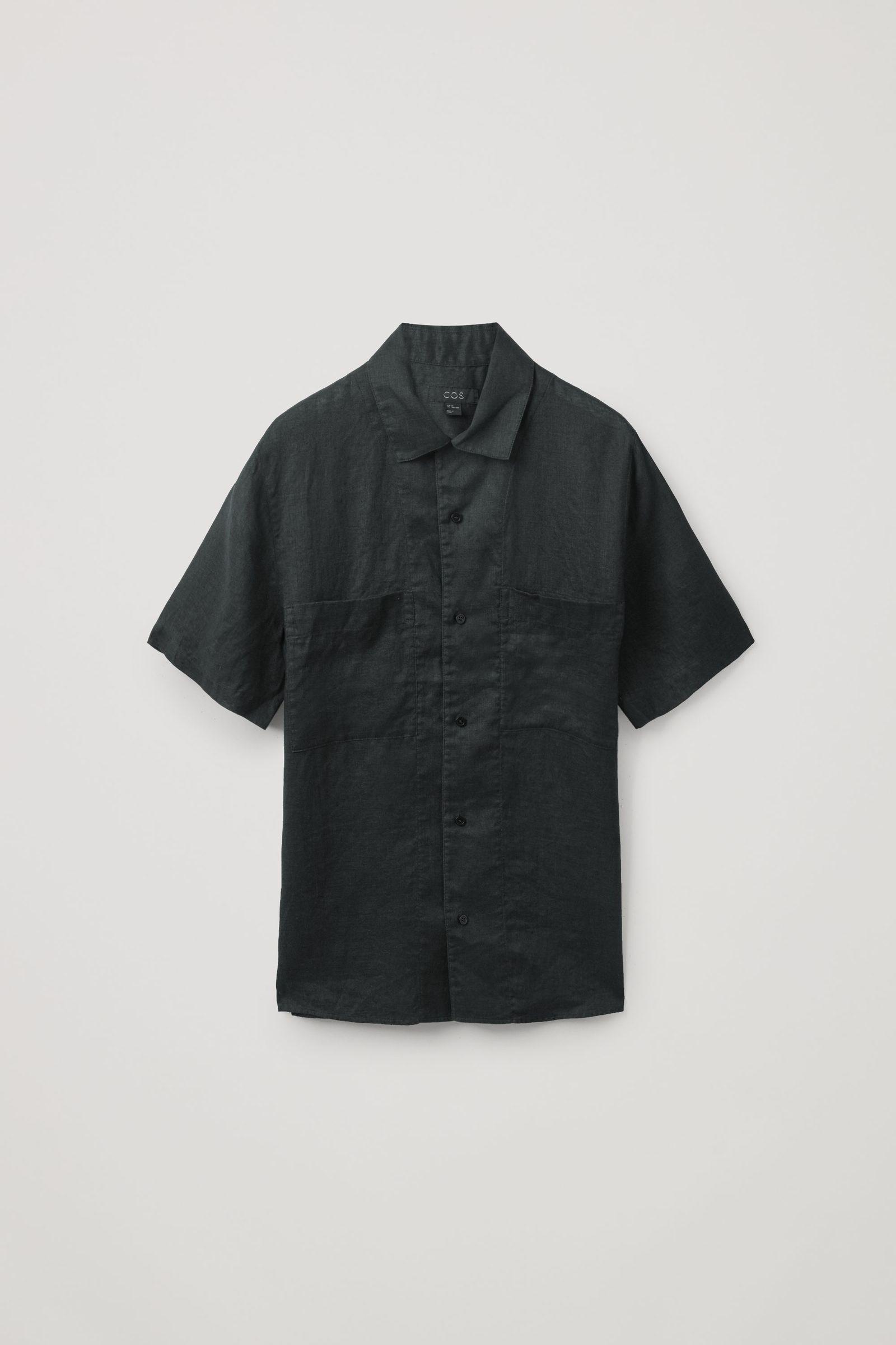 COS 캠프 칼라 쇼트 슬리브 셔츠의 블랙컬러 Product입니다.