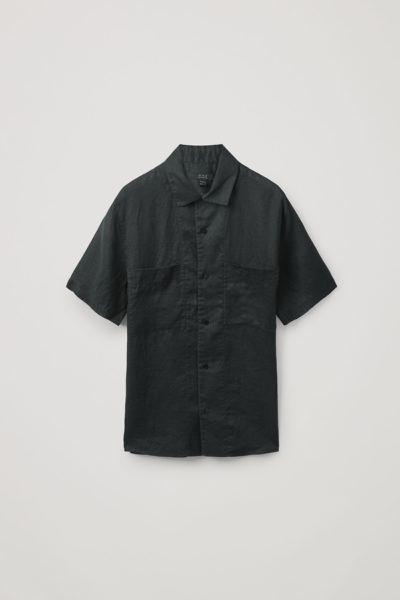 COS default image 3 of 블랙 in 캠프 칼라 쇼트 슬리브 셔츠