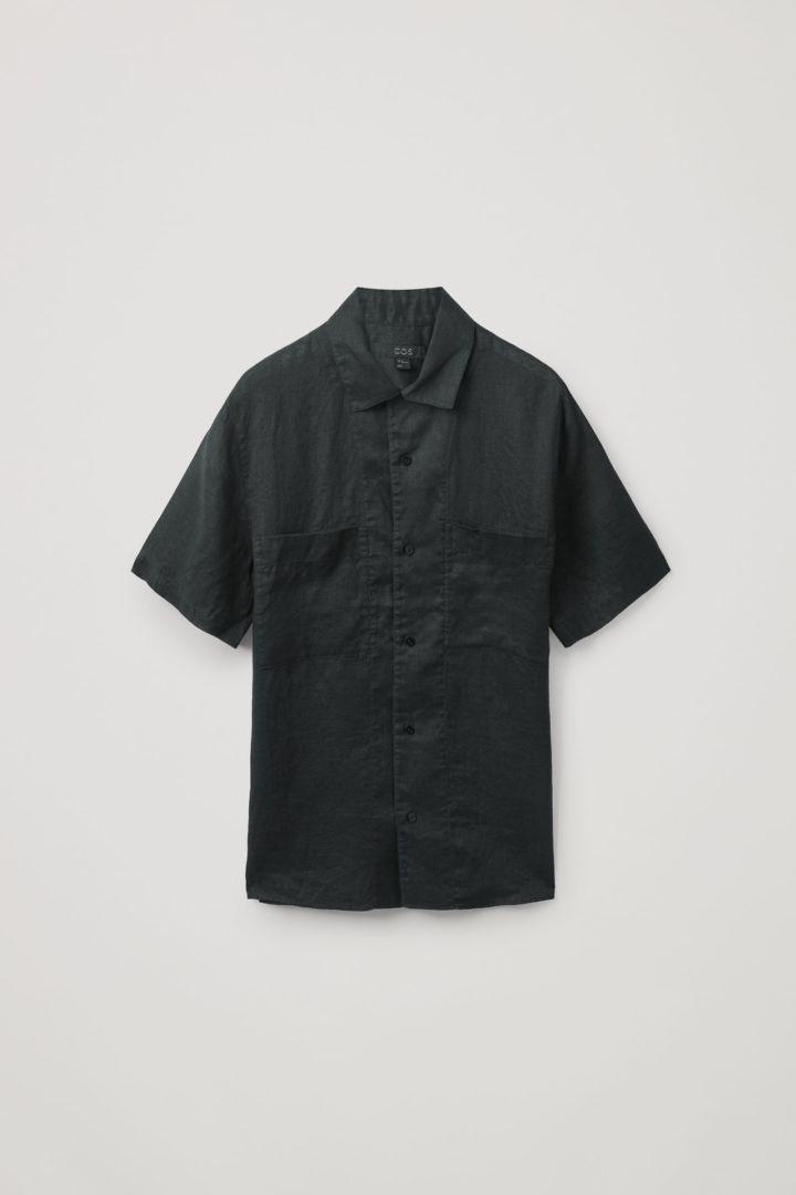 COS hover image 5 of 블랙 in 캠프 칼라 쇼트 슬리브 셔츠