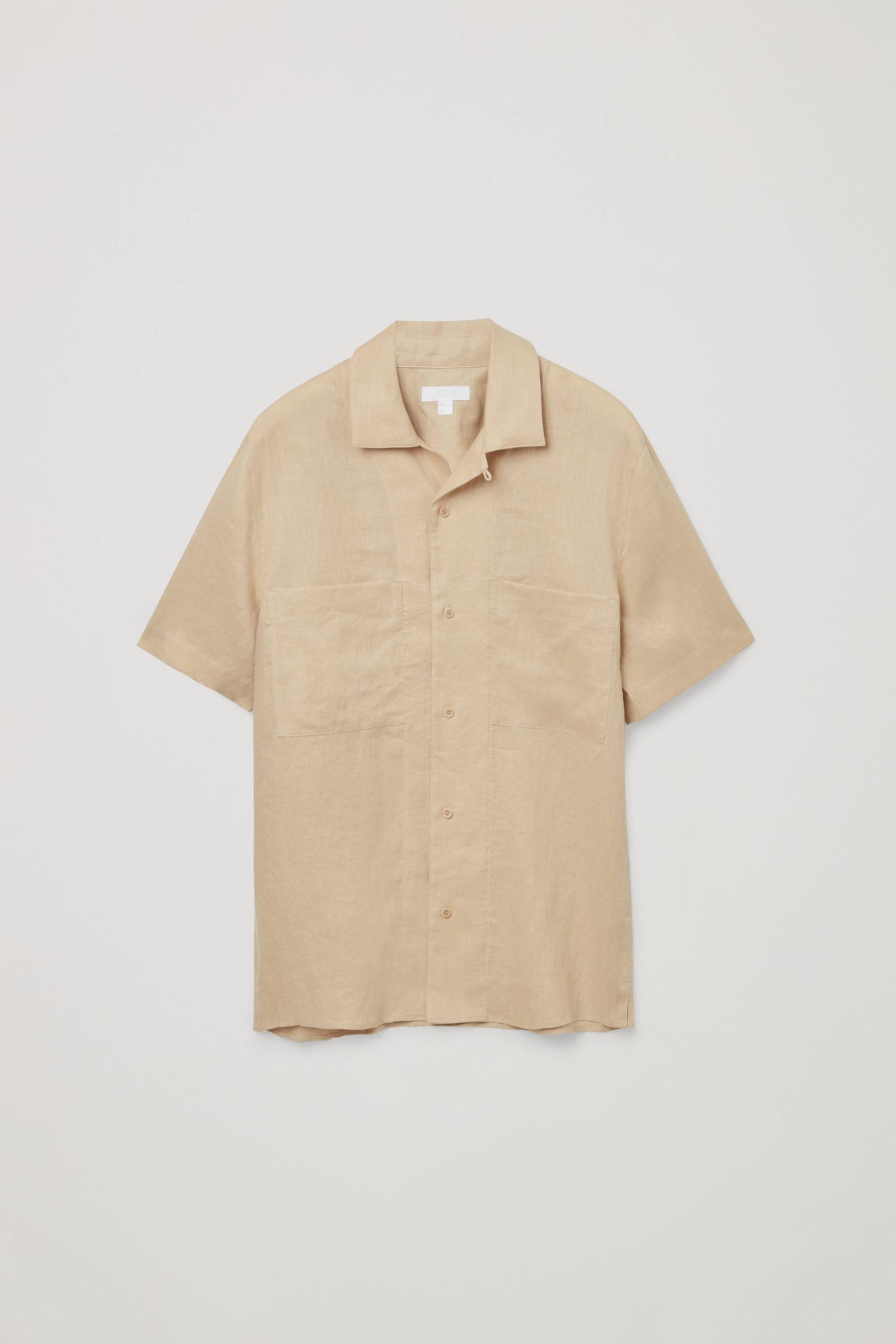COS 캠프 칼라 쇼트 슬리브 셔츠의 베이지컬러 Product입니다.