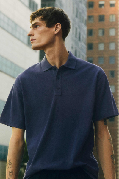 COS default image 1 of 블루 in 폴로 셔츠