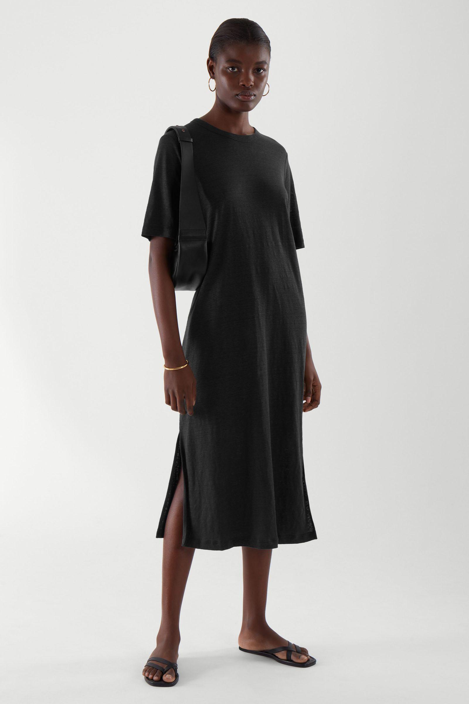 COS 리넨 드레스의 블랙컬러 ECOMLook입니다.