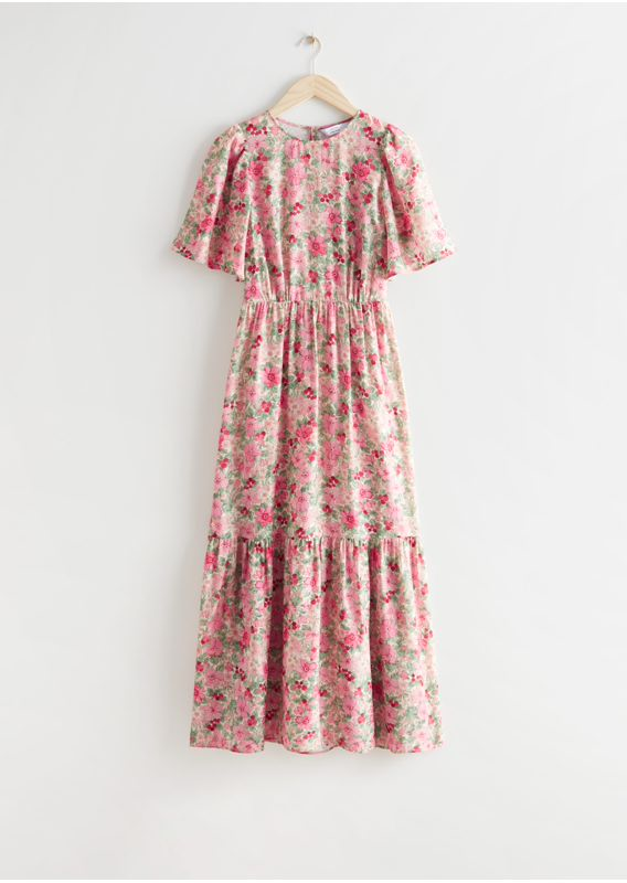 &OS image 4 of  in 프린트 퍼프 슬리브 맥시 드레스