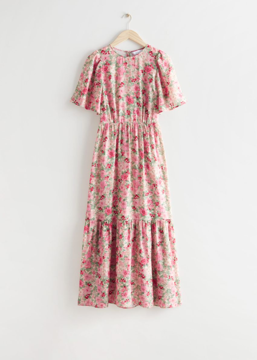 앤아더스토리즈 프린트 퍼프 슬리브 맥시 드레스의 핑크 플로럴컬러 Product입니다.