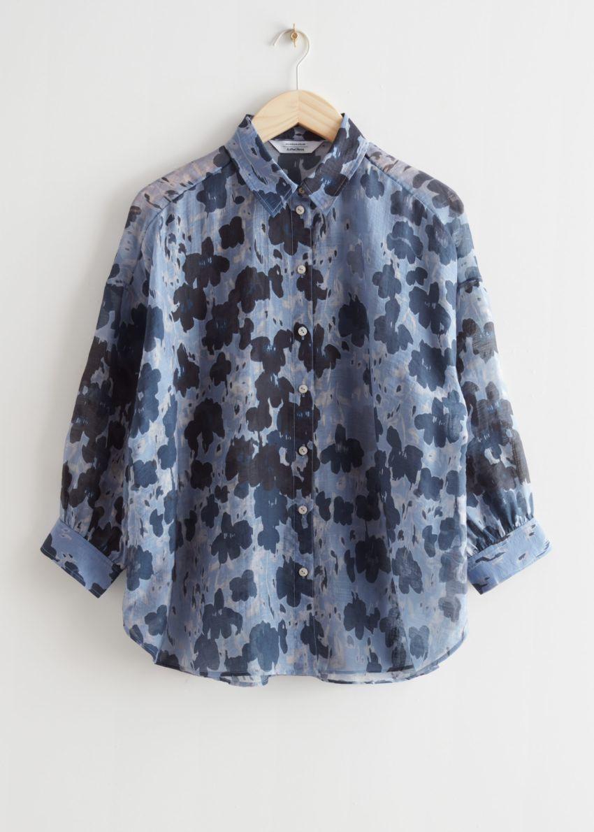 앤아더스토리즈 프린트 볼류미너스 셔츠의 블루 플로럴컬러 Product입니다.
