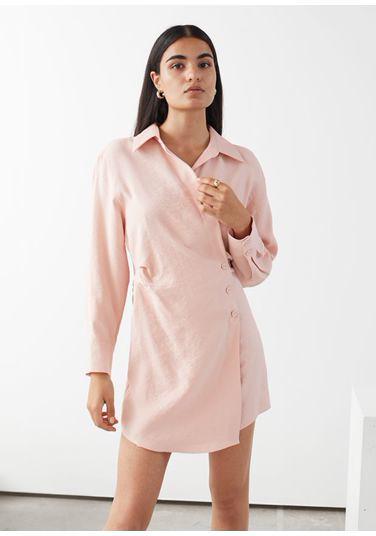 &OS image PRA default 10 of  in 에이시메트릭 미니 셔츠 드레스