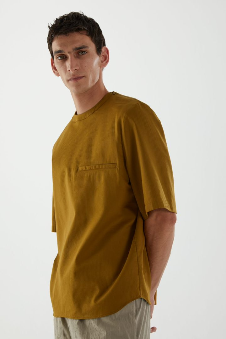 COS default image 3 of 옐로우 in 오가닉 코튼 오버사이즈 슬리브 티셔츠