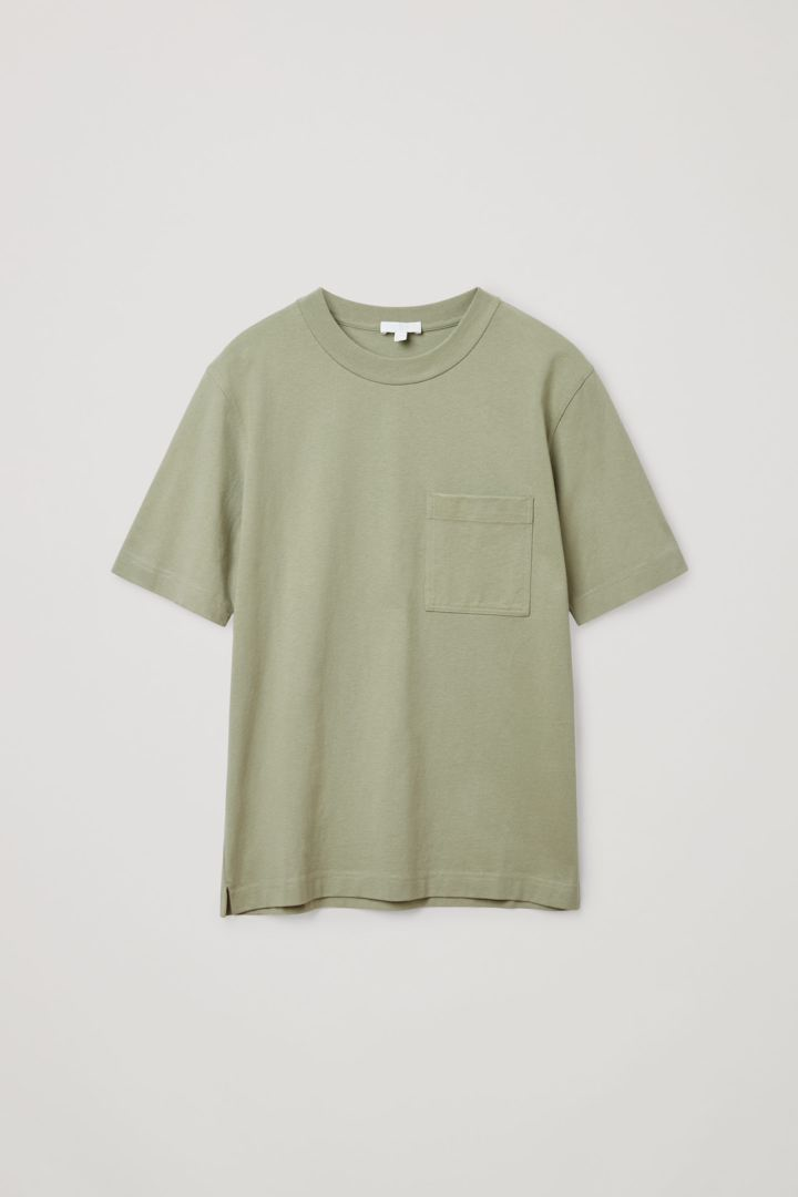 COS 오가닉 코튼 오버사이즈 슬리브 티셔츠의 카키컬러 Product입니다.