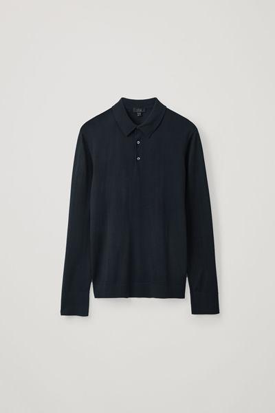 COS default image 12 of 블루 in 롱 슬리브 메리노 폴로 셔츠