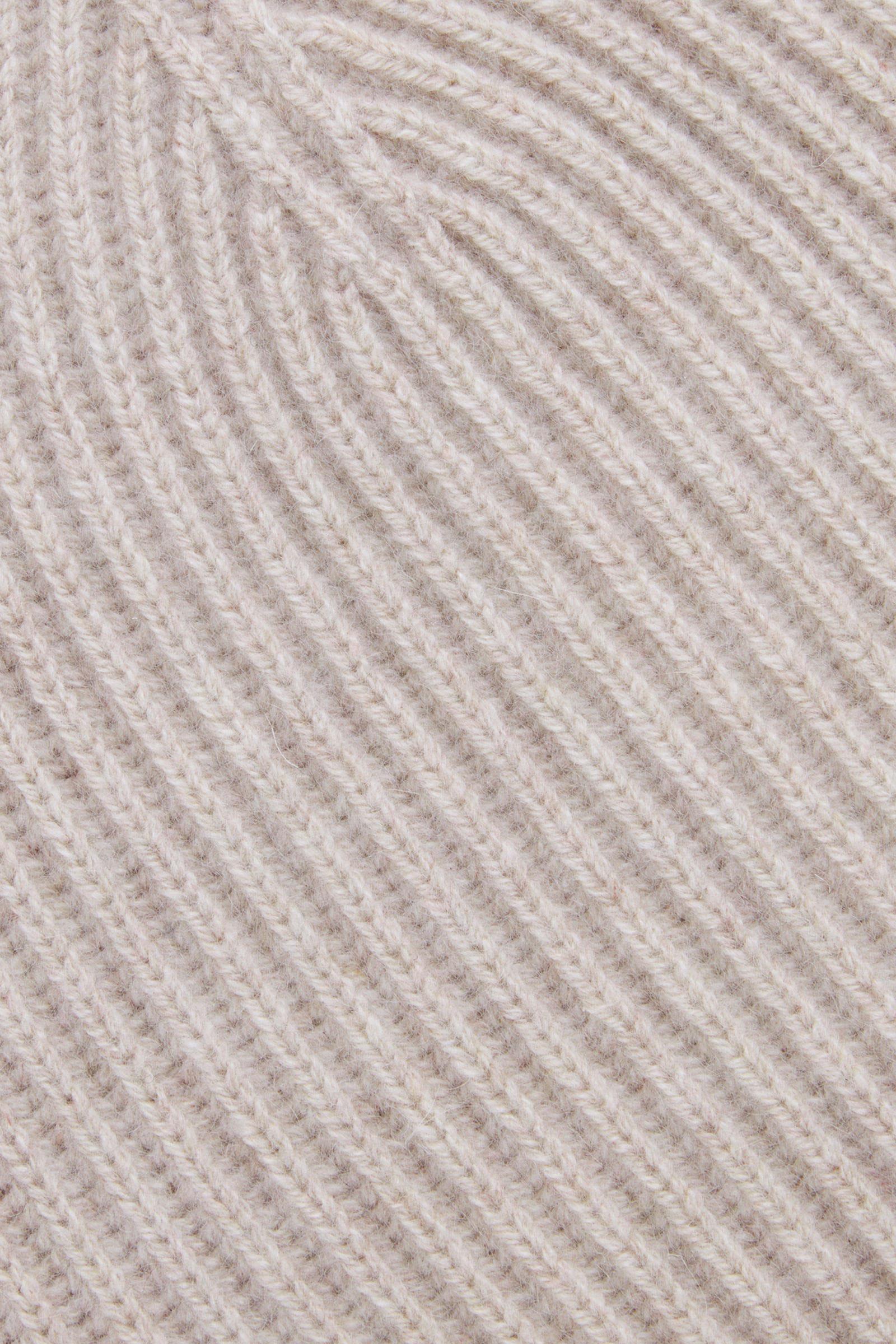 COS 리브드 캐시미어 햇의 오트밀컬러 Detail입니다.