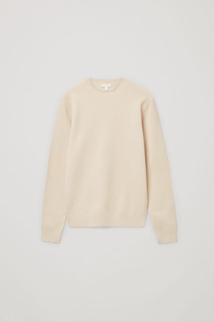 COS 오가닉 코튼 텍스쳐드 니트 스웨터의 베이지컬러 Product입니다.