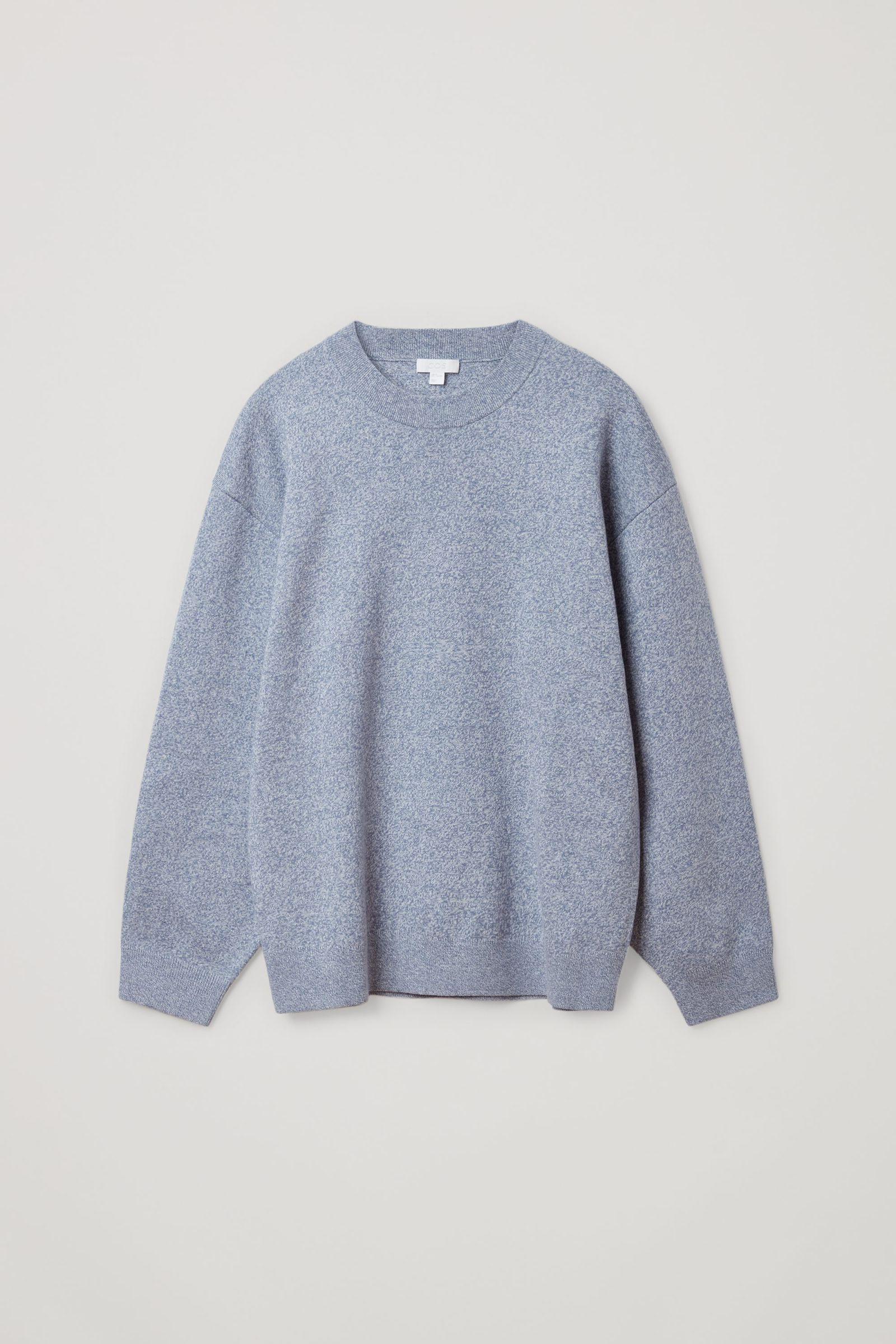 COS 니티드 코튼 메리노 스웨터의 블루컬러 Product입니다.