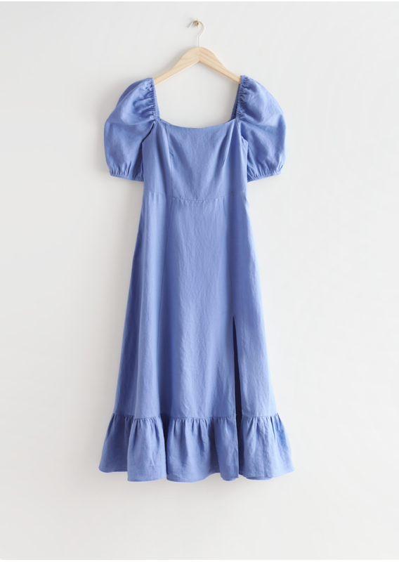 &OS image 24 of  in 리넨 퍼프 슬리브 미디 드레스