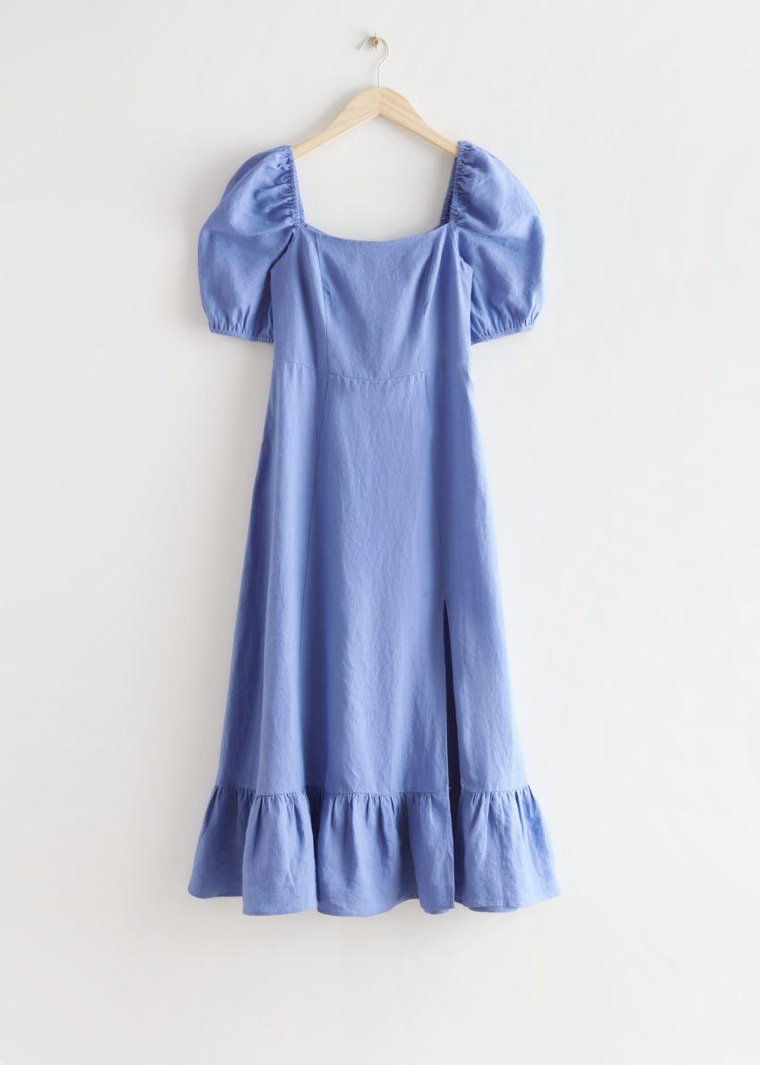 앤아더스토리즈 리넨 퍼프 슬리브 미디 드레스의 블루컬러 Product입니다.