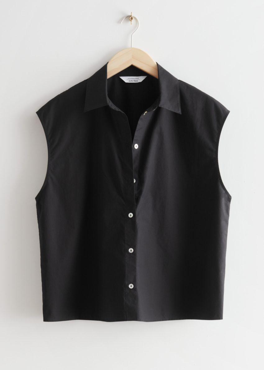 앤아더스토리즈 박시 슬리브리스 셔츠의 블랙컬러 Product입니다.