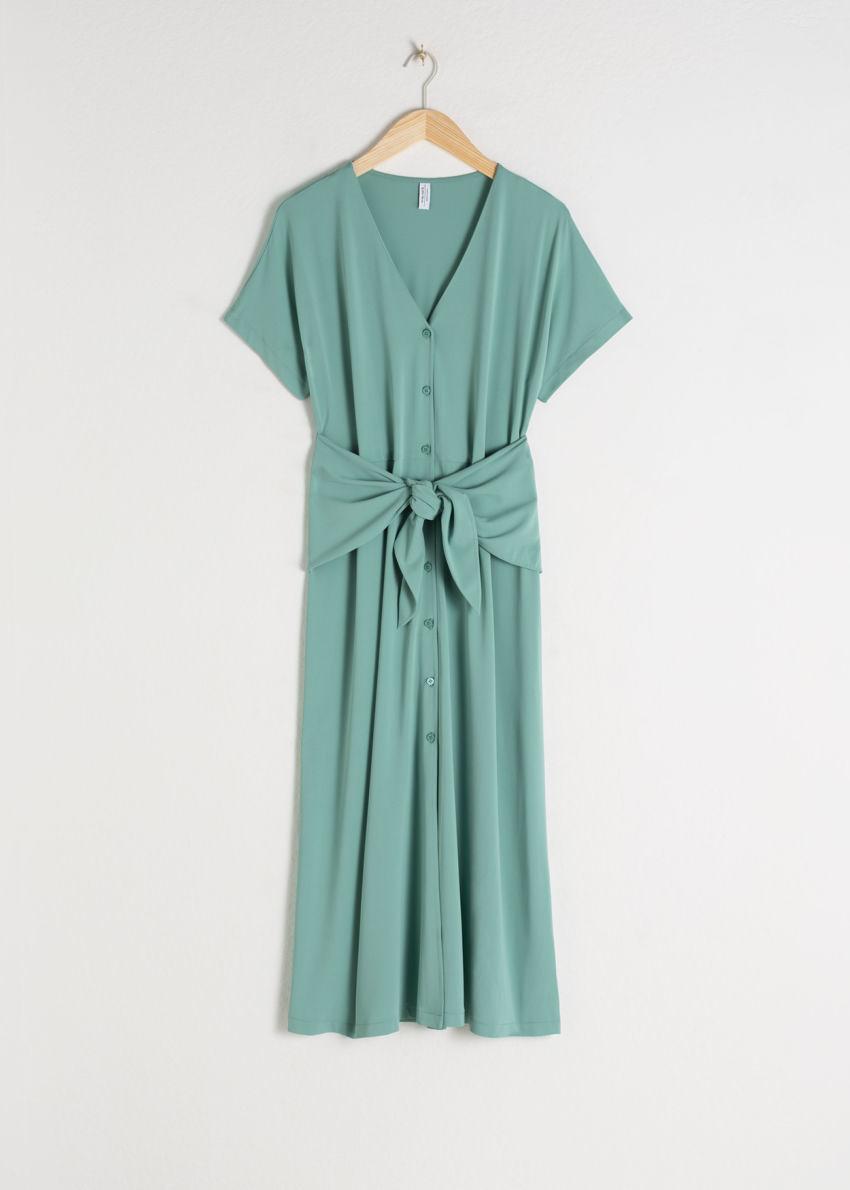 앤아더스토리즈 웨이스트 타이 미디 드레스의 민트컬러 Product입니다.