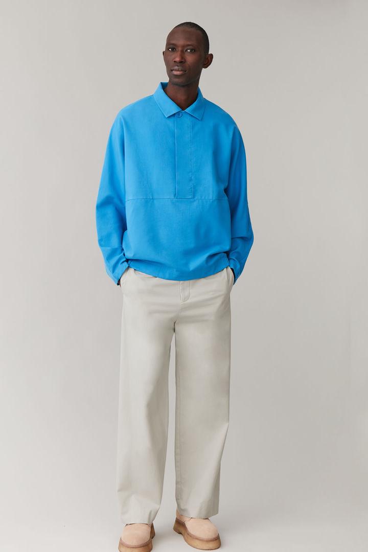 COS default image 10 of 블루 in 코튼 믹스 기모노 재킷