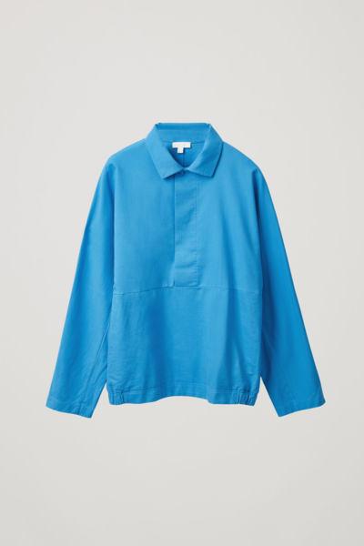 COS default image 7 of 블루 in 코튼 믹스 기모노 재킷
