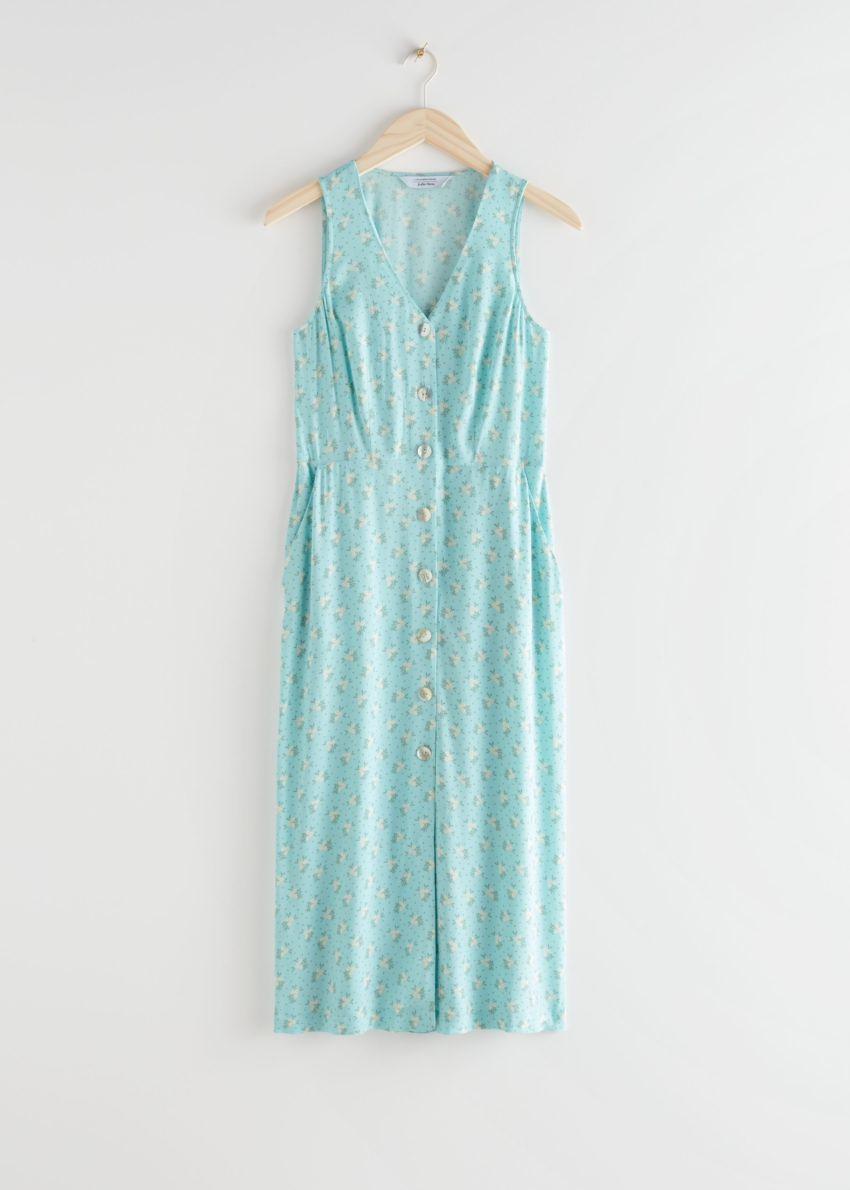 앤아더스토리즈 슬리브리스 버튼 업 미디 드레스의 터쿼이즈 플로럴컬러 Product입니다.