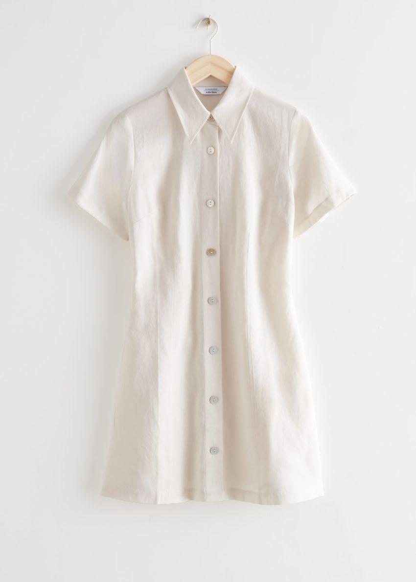앤아더스토리즈 미니 셔츠 드레스의 화이트컬러 Product입니다.
