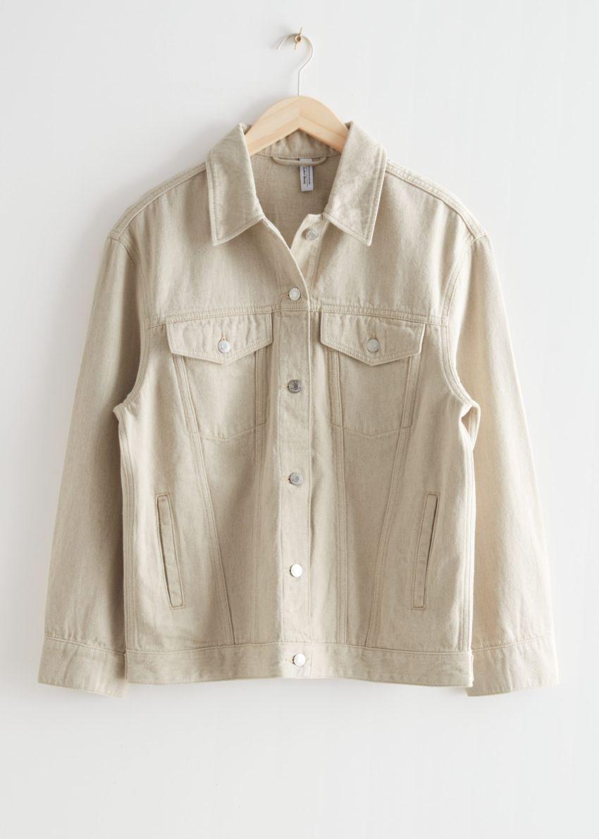 앤아더스토리즈 오버사이즈 데님 재킷의 베이지컬러 Product입니다.