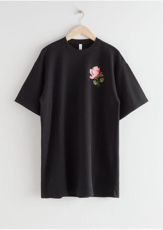 &OS image 3 of 블랙 로즈 in 로즈 엠브로이더리 티셔츠 미니 드레스