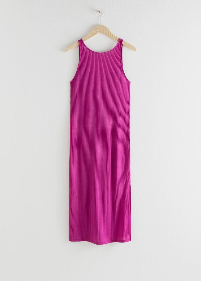 앤아더스토리즈 립 더블 사이드 슬릿 미디 드레스의 핑크컬러 Product입니다.