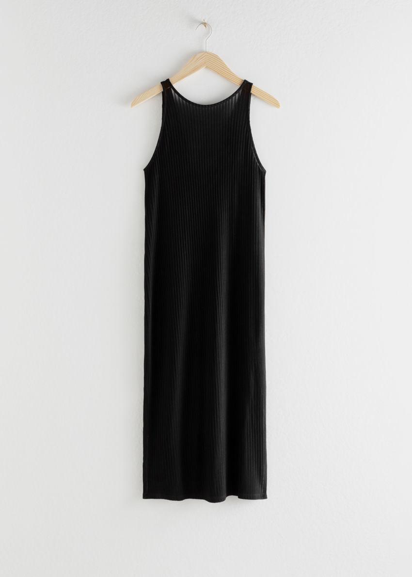 앤아더스토리즈 립 더블 사이드 슬릿 미디 드레스의 블랙컬러 Product입니다.