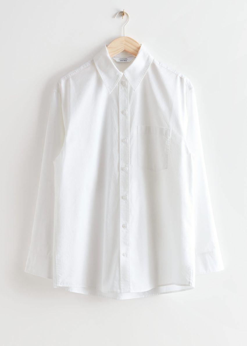 앤아더스토리즈 볼류미너스 코튼 셔츠의 화이트컬러 Product입니다.