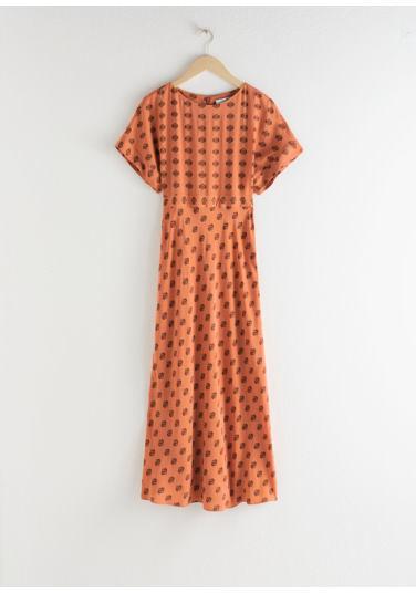 &OS image Style With default 0 of 오렌지 플로럴 in 쇼트 슬리브 프린트 맥시 드레스