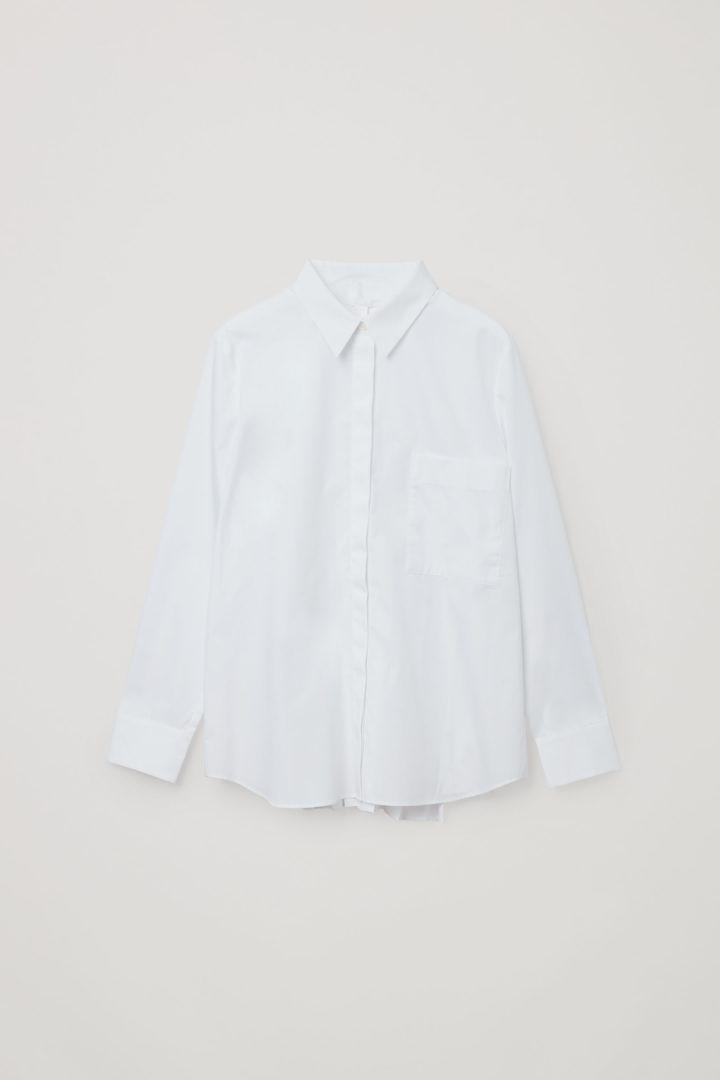 COS 오가닉 코튼 플리티드 튜닉 셔츠의 화이트컬러 Product입니다.