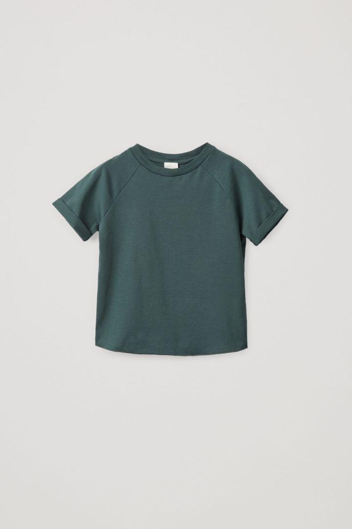COS default image 7 of 터쿼이즈 in 오가닉 코튼 래글런 슬리브 티셔츠