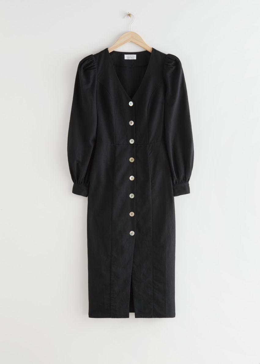 앤아더스토리즈 버튼 퍼프 슬리브 미디 드레스의 블랙컬러 Product입니다.