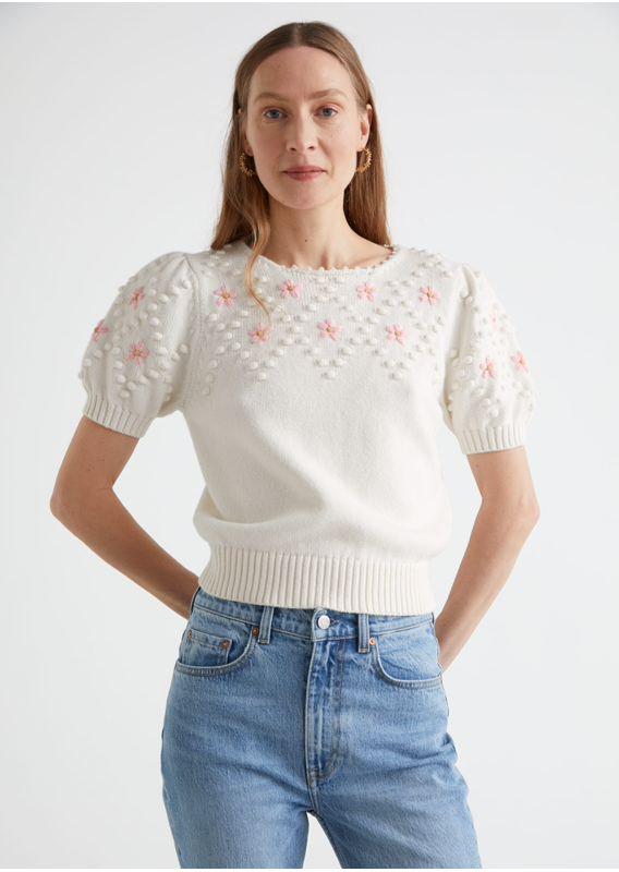 &OS image 28 of  in 엠브로이더리 퍼프 슬리브 니트 스웨터