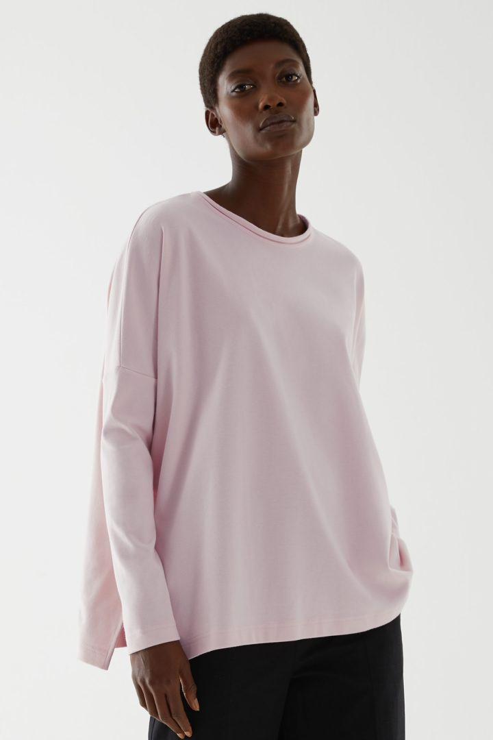 COS default image 8 of 핑크 in 커브드 헴 저지 탑