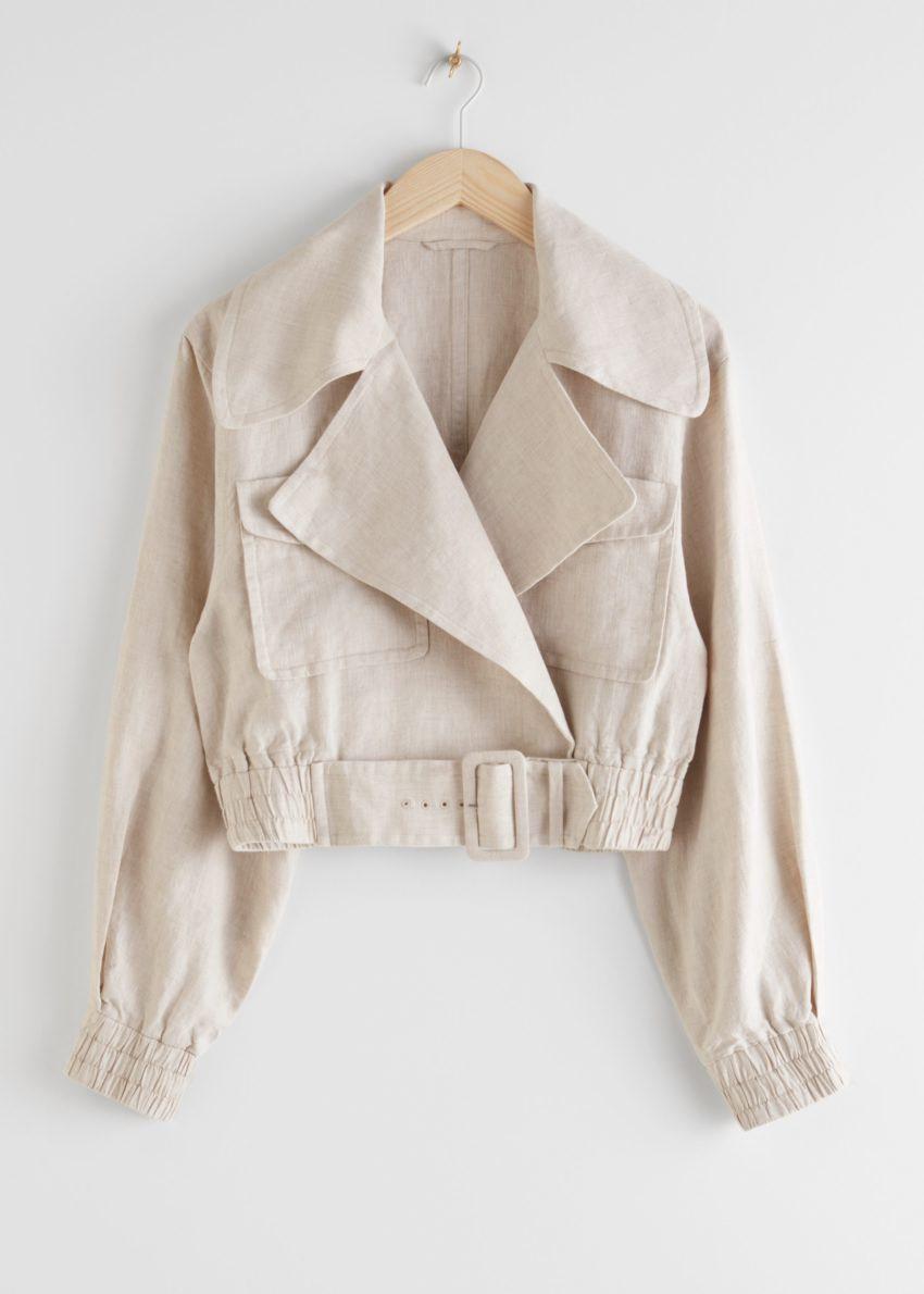 앤아더스토리즈 리넨 바이커 재킷의 베이지컬러 Product입니다.