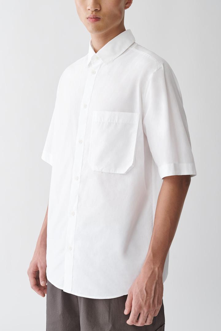 COS default image 6 of 화이트 in 오가닉 코튼 포플린 셔츠