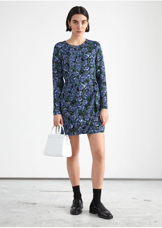 &OS image 16 of 블루 in 플로럴 프린트 미니 드레스